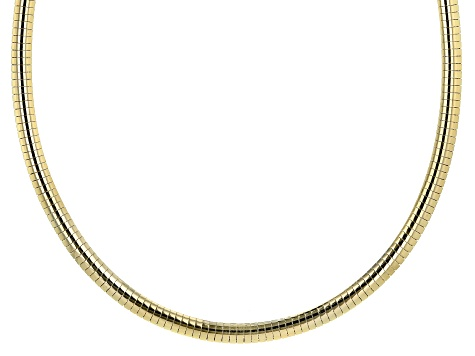 18K Yellow Gold Over Sterling Silver 6mm Polished Omega 18 Inch Necklace.