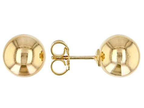18k yellow gold over sterling silver 10mm ball stud earrings.