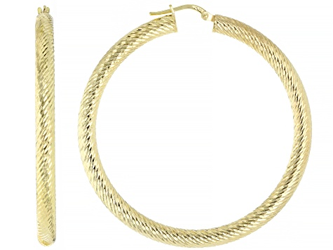 18k yellow gold over sterling silver diamond cut round hoop earring.