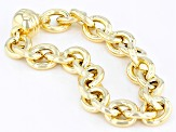 18k yellow gold over sterling silver oval rolo bracelet.