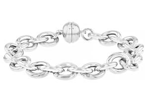 Sterling Silver Oval Rolo Bracelet.