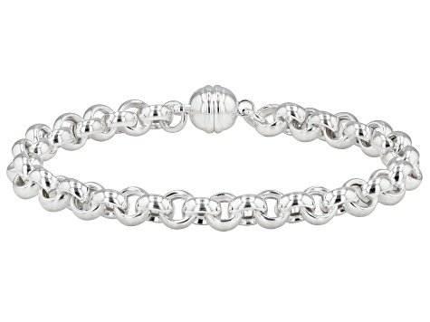 Sterling silver polished rolo bracelet.