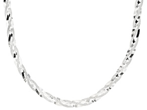 Sterling Silver Braided Herringbone Necklace 20""