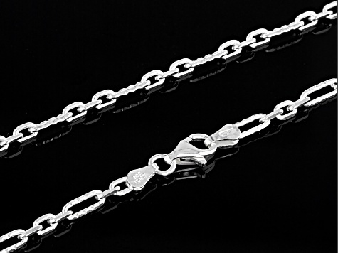 Sterling Silver Figaro Link Necklace 20 Inches