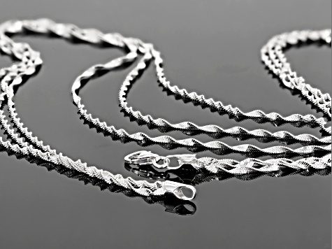 Sterling Silver Multi-strand Twisted Herringbone  Necklace 20 inch