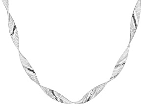 Sterling Silver Ribbon Omega Necklace 20 inch
