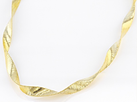 18k Yellow Gold Over Sterling Silver Ribbon Omega Necklace 20 inch