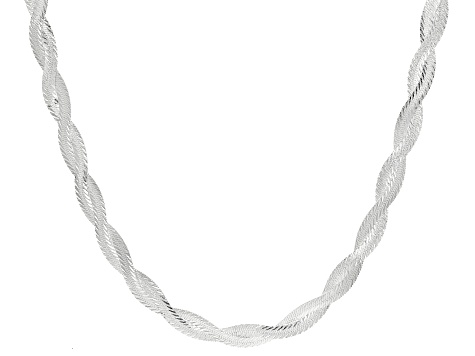 Sterling Silver Braided Herringbone Necklace 20 inch