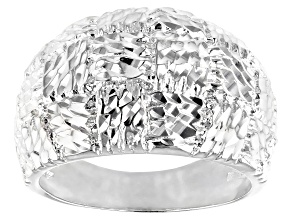 Sterling Silver Textured Basket-Weaved Dome Ring