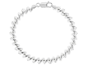 Sterling Silver 7mm San Marco Link Bracelet 7.5 inches