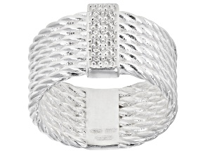 Bella Luce White Cubic Zirconia Sterling Silver Multi-Row Ring 0.07ctw