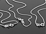 Sterling Silver 0.5MM Diamond Cut Curb Link Chain Necklace 18, 20, And 24 Inch Set Of 3