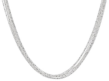 Picture of Sterling Silver Multi-Strand Diamond Cut Bead Chain Necklace 18 inch