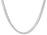 Sterling Silver Multi-Strand Diamond Cut Bead Chain Necklace 18 inch