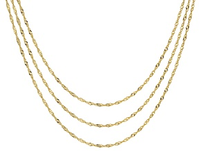 18K Yellow Gold Over Sterling Silver Singapore Chain Necklaces- Set Of 3