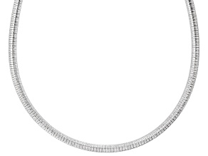 Sterling Silver Diamond Cut Omega Chain Necklace 20