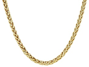 18k Yellow Gold Over Sterling Silver Wheat Chain Necklace 20 Inches