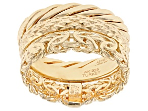 18K Yellow Gold Over Sterling Silver Set of 3 Bands