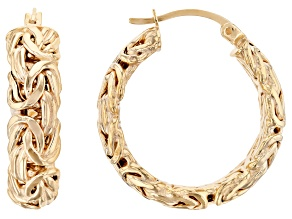 18K Gold Over Sterling Silver Byzantine Hoop Earrings