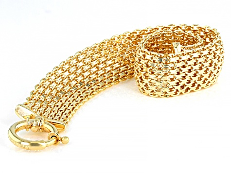 18k Gold Over Sterling Silver Multi-Strand Bracelet