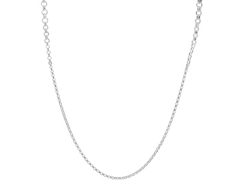 Picture of Sterling Silver Graduated Rolo Station 35.25 Inch Necklace