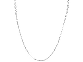Sterling Silver Graduated Rolo Station 35.25 Inch Necklace