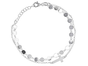 Sterling Silver Station Cross Rolo 6.75 Inch Bracelet