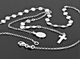 Sterling Silver Station Cross and Mary 16 Inch Necklace