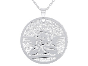 Sterling Silver Angel Pendant with 17 Inch Cable Chain and 2 Inch Extender