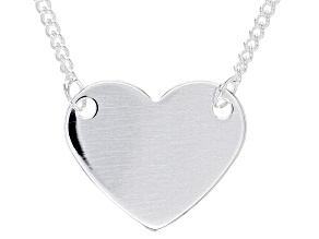 Sterling Silver Heart Charm Curb Chain 18.5 Inch and 2 Inch Extender Necklace