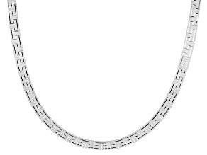 Sterling Silver 18 Inch Omega Greek Necklace