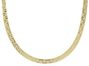 18K Yellow Gold Over Sterling Silver 18 Inch Omega Greek Necklace