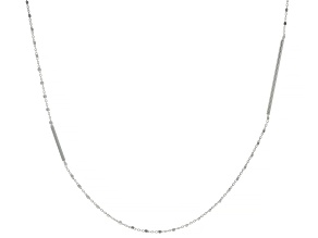 Sterling Silver Elongated Bar Station 36 Inch Rolo Necklace