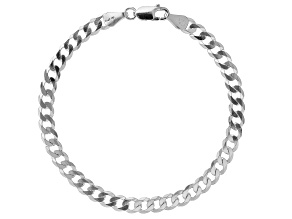 Sterling Silver 5.37MM Diamond Cut Curb Bracelet