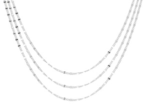 Sterling Silver Flat Curb Diamond Cut Stations 18, 20, and 24 Inch Necklace Set.