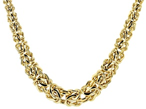 18K Yellow Gold Over Sterling Silver Graduated Bold Byzantine 18 Inch Necklace