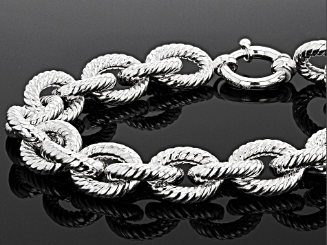 Sterling Silver 12MM Twisted Rope Link Bold Rolo 8 Inch Bracelet