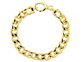 "18k Yellow Gold Over Sterling Silver Cuban Link 8"" Bracelet"