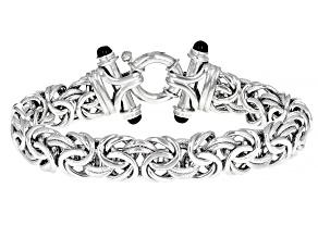 Sterling Silver Black Onyx Accent 12MM Byzantine 8 Inch Bracelet