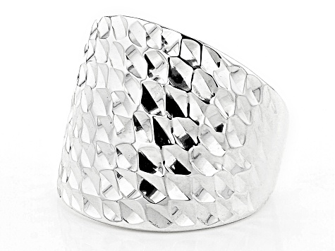 Sterling Silver Dome Martellato Ring