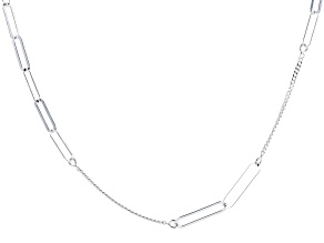 "Sterling Silver 4.50MM ""Paperclip"" Station 36"" Curb Chain Necklace"