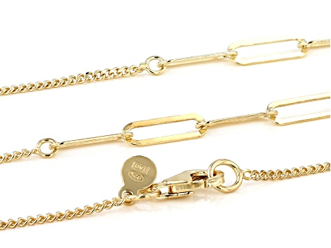 "18K Yellow Gold Over Sterling Silver 4.50MM ""Paperclip"" Station 36"" Curb Chain Necklace"