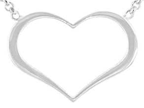 Sterling Silver Heart 18 Inch Rolo Adjustable Necklace