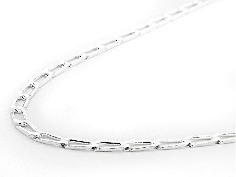 Sterling Silver Flat Paperclip 24 Inch Chain Necklace