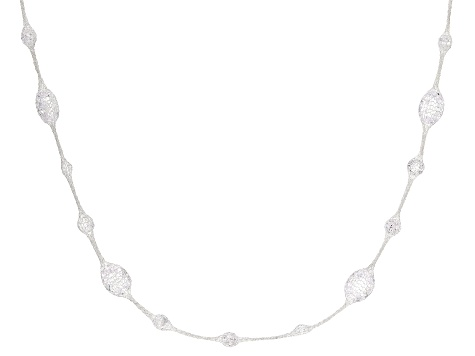 Sterling Silver Designer Crochet Link with Bella Luce® White Cubic Zirconia 18 Inch Necklace