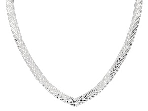 "Sterling Silver 18"" V-Shape Necklace"