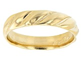 18K Yellow Gold Over Sterling Silver Symmetric Design Band Ring