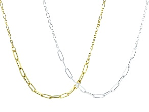 Sterling Silver and 18K Yellow Gold Over Sterling Silver Set of 2 Cable & Figaro Necklaces 20 Inch