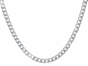 Sterling Silver 3.20MM Faceted Curb 18 Inch Necklace