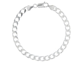 Sterling Silver 5.70MM Faceted Curb Bracelet